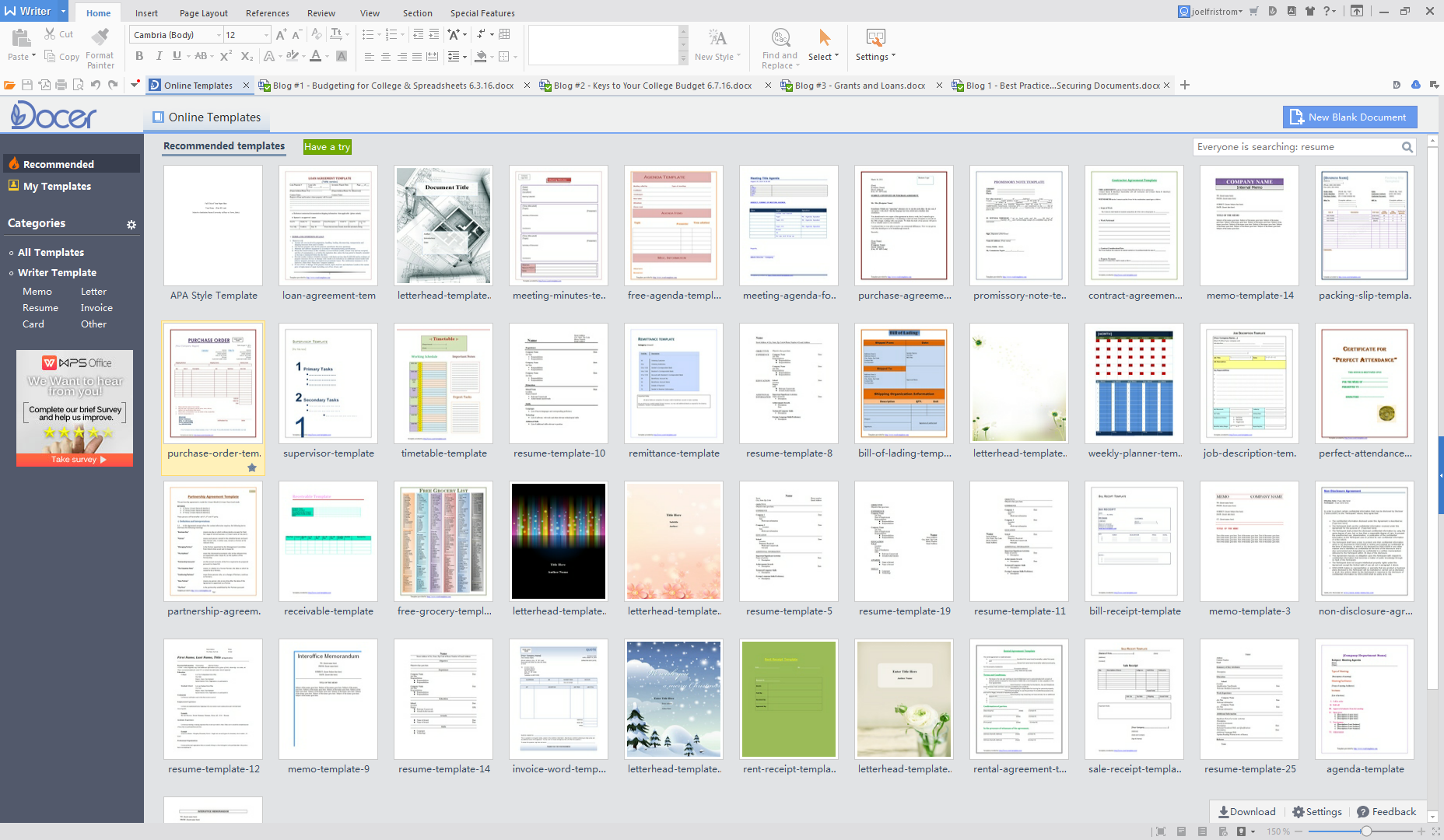 View Multiple Documents in one Window with WPS Office